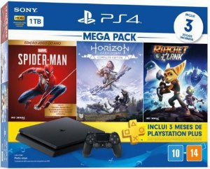 Console Playstation 4 Slim PS4 1TB + Horizon Zero Dawn Complete + Marvel's Spiderman + Ratchet & Clank - Sony