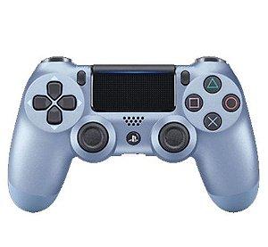 Usado Controle PS4 Dualshock 4 Azul Cromado- Sony