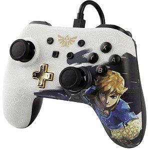 Usado Controle Nintendo Switch Pro Controller Branco Skin Zelda Com Fio - Power A