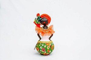 Baiana de Cabaça Tamanho P | Boneca feita em cabaça, biscuit e tecido.
