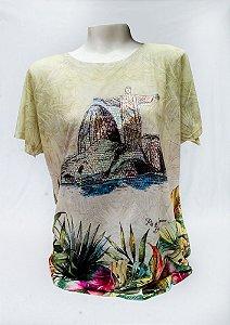 Camiseta Feminina Lantejoulas | Pão de Açúcar e Cristo Redentor