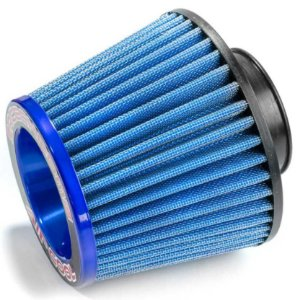 FILTRO AR GRANDE MONOFLUXO BASE DE BORRACHA 70MM AZUL RACE CHROME