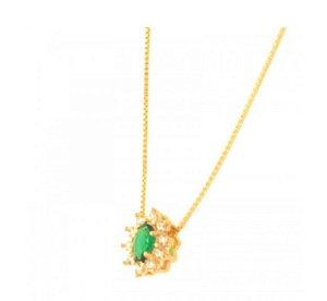 Colar Oval Pequeno Verde Esmeralda