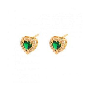 Brinco Coração Pedra Verde Esmeralda