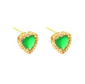 Brinco Coração Pedra Verde Esmeralda Zirconia Cristal