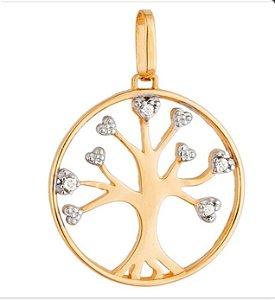 Pingente Árvore da Vida com 4 brilhantes e detalhes Diamantado