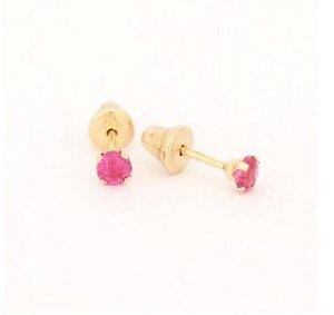 Brinco Ouro18k com Pedra de Zircônia Rosa Escuro 2.5mm