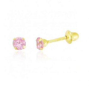 Brinco Ouro18k com Pedra de Zircônia Rosa Bebê 2.5mm