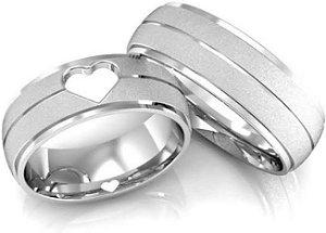 Aliança com Coração e Friso Aproximadamente 6 Gramas de Prata CADA ALIANÇA