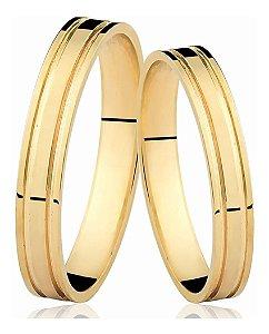 Aliança Fio Reto com 2 Frisos com Aproximadamente 1,5 GRAMAS  Ouro 18k CADA ALIANÇA