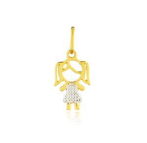 Pingente Menina com Vestido Ouro Branco Ouro 18K