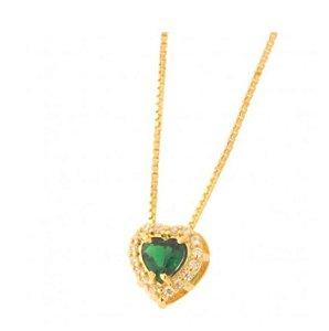 Colar Coração Pequeno Verde Esmeralda