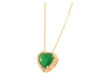Colar Coração Pedra Verde Grande