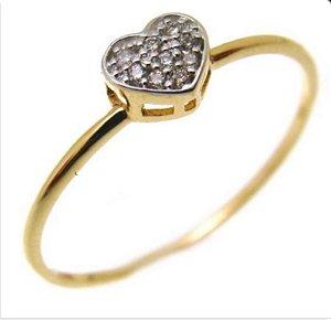Anel Ouro 18k Coração com Diamantes