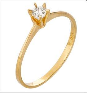 Anel Ouro 18k Solitário Diamante 7 pontos