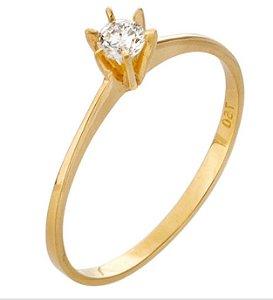 Anel Ouro 18k Solitário Diamante 10 pontos