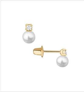 Brinco ouro 18k com 2 pedras cristal de 1.5mm + pérola 2.5 mm infantil