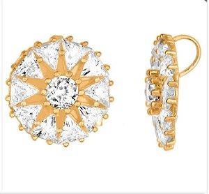 Pingente ouro 18k zircônias triangulares e redonda 3 mm