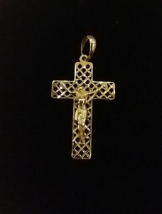 Pingente Cruz com Cristo Ouro 18k