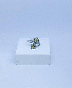 Anel Prata zirconias verdes