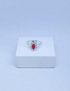 Anel Prata Zirconia Vermelha