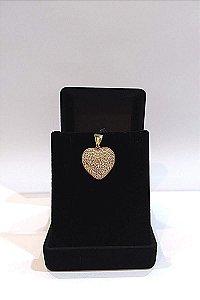 Pingente Folheado a ouro 18k, coração com zircônias