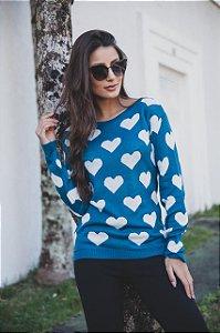 Blusa de tricô de coração