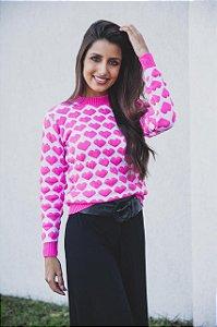 Blusa tricô coração alto relevo