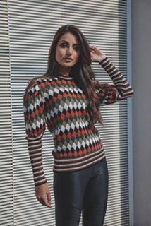 Blusa de tricô losango
