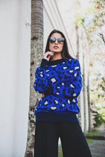 Blusa de tricô onça azul