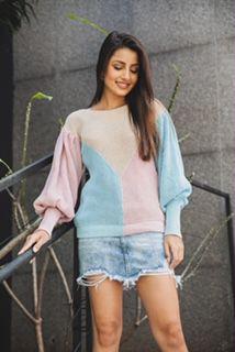 Blusa de tricô tricolor