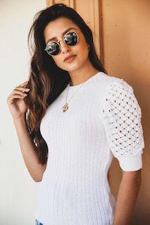 blusa tricot canelada manga rendada