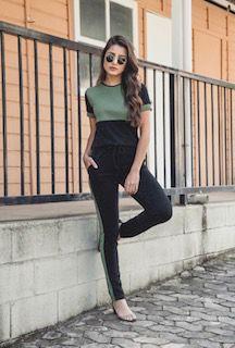 conjunto preto com verde malha lurex