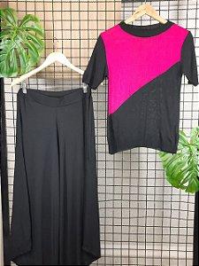 T-shirt  em tricot modal bicolor