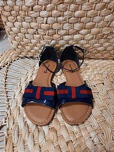 Sandália tipo rasteira laço com calcanhar