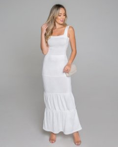 Vestido branco camadas