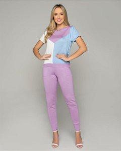 Conjunto comfy em trico lilás