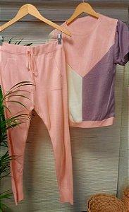 Conjunto comfy trico rosa