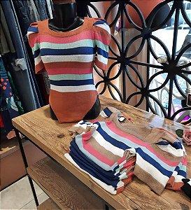 Body de tricot de listra decote U