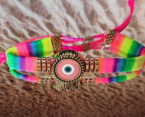 Pulseira olho grego multicolorida