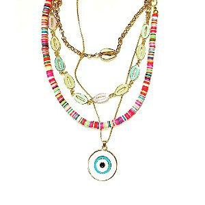 Conjunto de colares olho grego