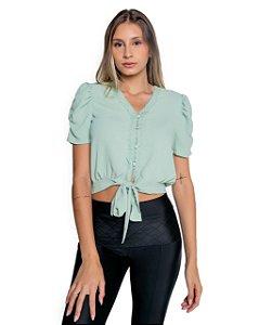 Blusa botões manga bufante