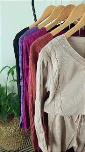 COMFY Conjunto em trico trança