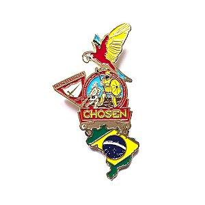Pin, Chosen com Arara Vermelha e mapa do Brasil