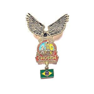 Pin, Águia com logo Chosen e pingente da bandeira do Brasil