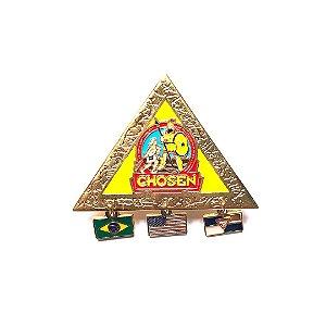 Pin Chosen, triangulo com pingentes e fundo nas cores das classes