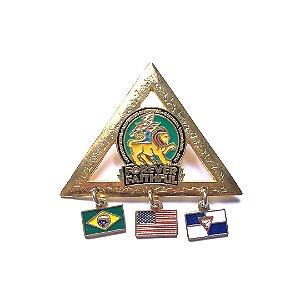 Pin Forever Faithful, triangulo com 3 pingentes e fundo verde