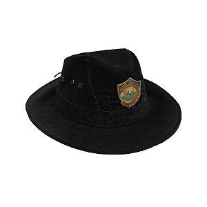Chapéu de couro preto, com logo da DSA 2019 metal