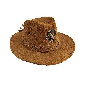 Chapéu de couro caramelo, com logo D3 metal