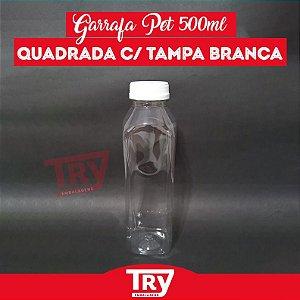 Garrafa Pet 500ml Tampa Branca com Lacre 100 unidades